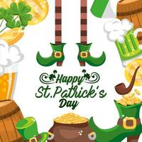 autocollant St Patrick heureux avec décoration d'événement vecteur