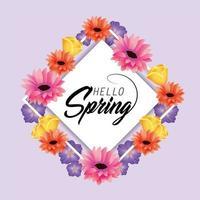 carte de printemps avec des fleurs et des plantes roses vecteur