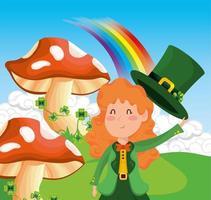 Femme de St. Patrick avec champignon et trèfles avec arc-en-ciel