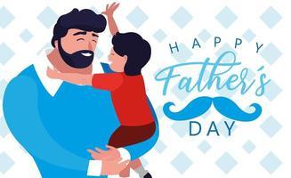 carte de fête des pères heureux avec papa et fils vecteur