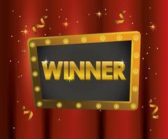 emblème gagnant avec des confettis à la célébration du champion
