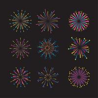 mettre la décoration de nuit de feu d'artifice à l'événement vecteur