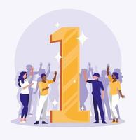 gens d'affaires célébrant avec le numéro un