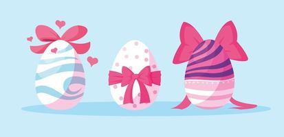 ensemble d'oeufs de Pâques décorés