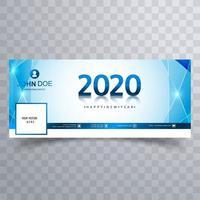 Bannière de couverture des médias sociaux bleu nouvel an 2020