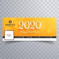 Bannière de couverture des médias sociaux jaune du nouvel an 2020