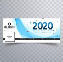 Bannière de couverture des médias sociaux bleu et confettis du nouvel an 2020