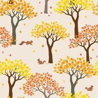 Écureuils avec forêt sur le modèle sans couture de l'humeur d'automne vecteur