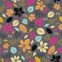 Feuilles d'automne modèle sans couture sur fond gris foncé
