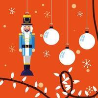 Casse-noisette jouet général avec des boules de Noël vecteur