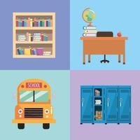 mettre les ustensiles de l'école à l'éducation et à l'étude vecteur