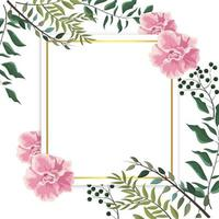 carte avec des plantes et des feuilles de roses exotiques vecteur