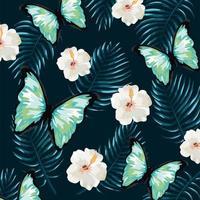 papillon avec fleurs tropicales et fond de feuilles