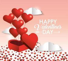 coeurs ballons à l'intérieur du présent cadeau de la Saint-Valentin vecteur