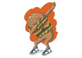 Tamponner un hamburger dansant vecteur