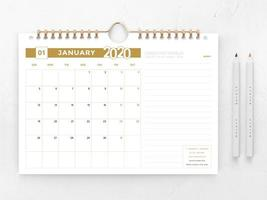 Modèle de calendrier 2020 or et blanc vecteur