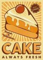 Affiche de signalisation de gâteau rétro rustique vecteur
