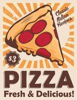 Affiche de signalisation Vintage Pizza rustique vecteur