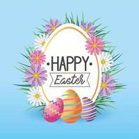 Étiquette avec décoration de fleurs et oeufs de Pâques