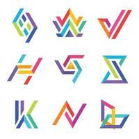 Ensemble de logo de typographie colorée vecteur