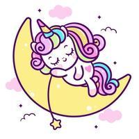 Poney mignon sur dessin animé licorne lune en couleur pastel vecteur