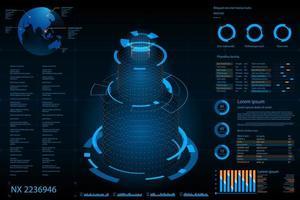 Éléments futuristes de la colonne d'analyse des données abstraites