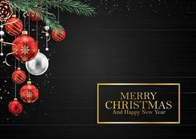 Fond en bois de Noël avec des branches de sapin et des boules