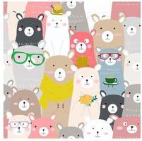Modèle sans couture de dessin animé ours en peluche coloré