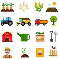 ensemble d'icônes plat agriculture vecteur