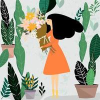 Femme, à, bouquet fleurs