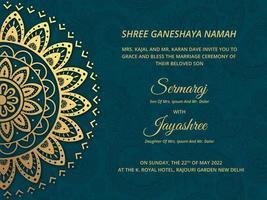 Vecteur de carte de mariage hindou de luxe