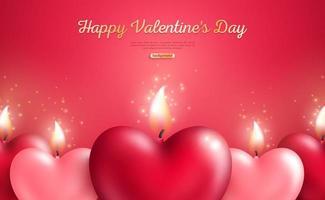 Concept de la Saint-Valentin avec des bougies coeur vecteur