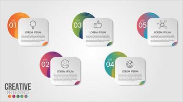 5 Infographie commerciale numérotée vecteur