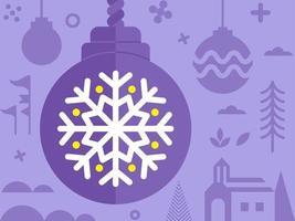 Ornement de Noël avec un autre élément de Noël en violet vecteur