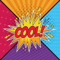 Texte pop art cool dans une bulle sur fond coloré