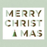 Texte de typographie joyeux Noël dans des couleurs vertes et rouges avec technique de chevauchement