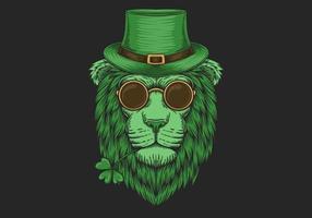 Tête de lion vert Saint-Patrick vecteur