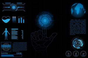 Tableau de bord des données futures, graphique, concept numérique de panneau vecteur