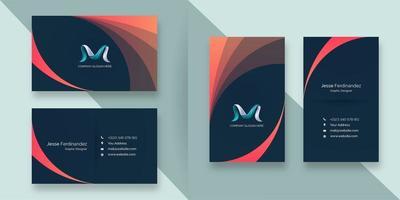 Modèle de carte de visite de style courbe dégradé orange abstrait