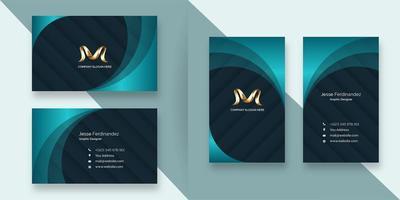 Modèle de carte de visite abstrait bleu profond avec style de couche verdâtre