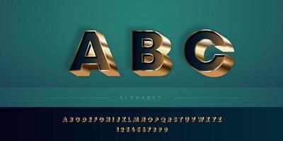 Jeu d'alphabet de couleurs profondes et dorées 3D vecteur