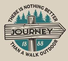 Emblème de camping vintage avec panneau en bois