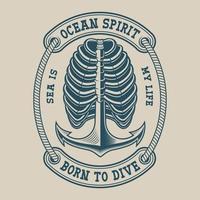 Illustration d'un squelette de côtes avec ancre dans un style vintage