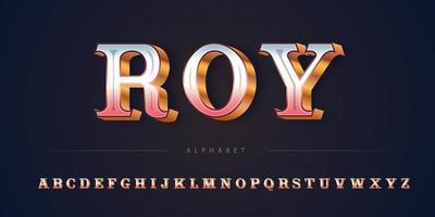 Ensemble d'alphabet de thème Rose d'or de luxe vecteur