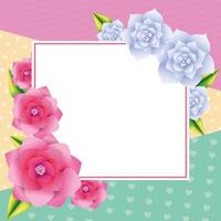 Cadre de carte vierge floral vecteur