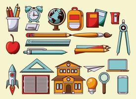 Ensemble d'ustensiles et symboles scolaires
