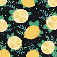 Citron frais tranché et motif de feuilles