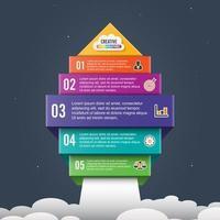 Flèche démarrer la bannière d'options infographiques