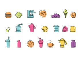 Ensemble d'icônes colorées linéaires d'aliments et de boissons pour café