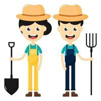 Jeu de caractères de dessin animé heureux agriculteurs homme et femme